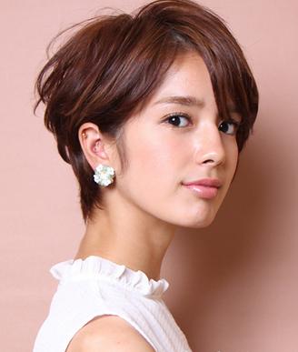 斜刘海短烫卷发脸大发型适合的女生剃头表情包图片