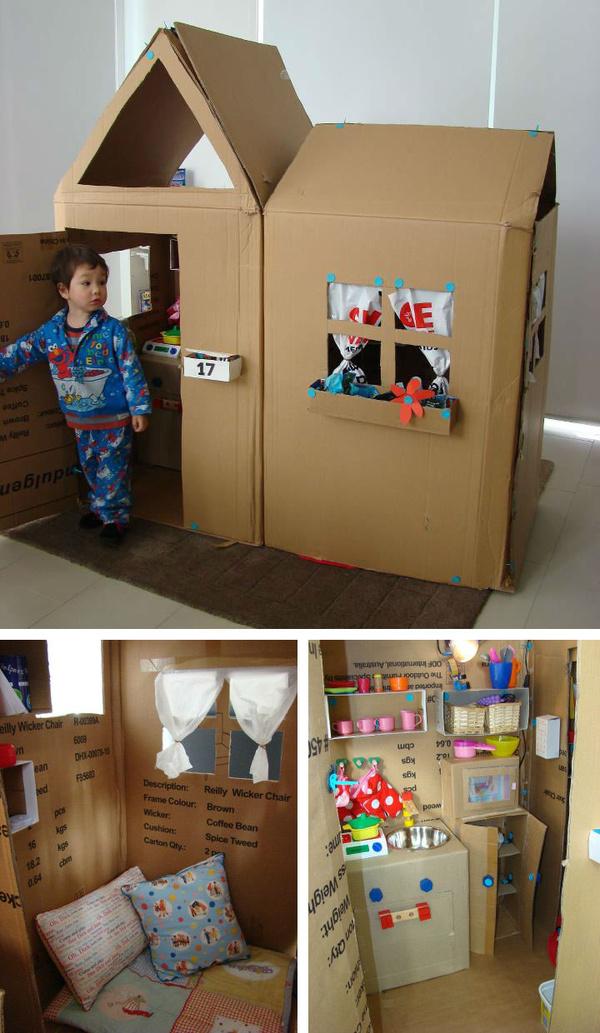 幼儿园纸箱创意制作图书架图片