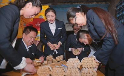 6名银行工作人员正在清点硬币 新文化报 刘阳 摄