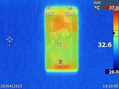 乐1手机在日常待机模式下的温度表现(正面最高34.3度,背面最高33.7度)