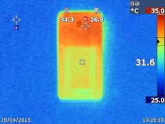 乐1手机在在线看视频模式下的温度表现(正面最高35.3度,背面最高34.3度)