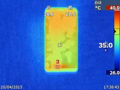 乐1手机在安兔兔跑分下的温度表现(正面最高39.2度,背面最高39.7度)
