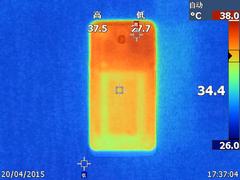 乐1手机在3DMark跑分下的温度表现(正面最高38度,背面最高37.5度)