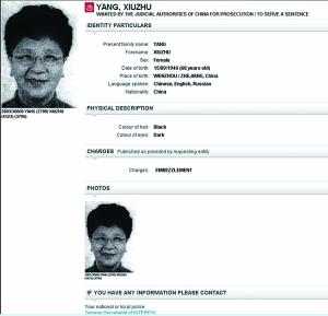 被通缉者姓名、性别、国籍、所涉罪名等标注头发、眼睛颜色等外貌特征配有至少一张照片每五年重新发布一次未归案长期有效国际刑警组织官网发布的杨秀珠通缉令