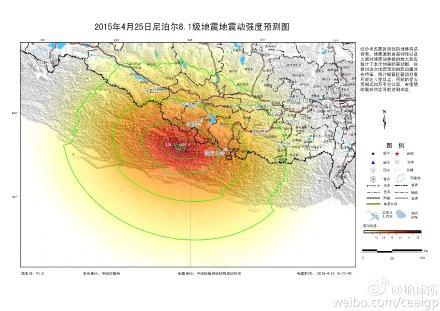 中新网4月25日电 中国地震局地球物理研究所刚刚在其官方微博发布尼泊尔8.1级地震地震动强度预测图。根据对这次地震预测的震动图分布特征,预计极震区震动烈度可能达X度以上,可能的受灾范围近20万平方公里。