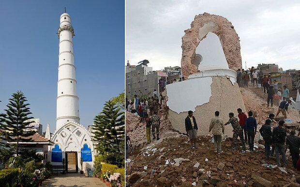 位于尼泊尔市中心的地标性建筑达拉哈拉塔地震前与地震后的景象