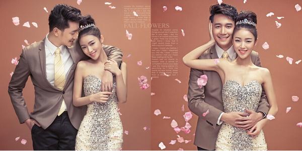 北京婚纱摄影;手绘墙花瓣雨韩式婚纱照道具
