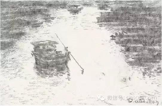 """用铅笔画瀑布-▲""""船行于水,篙入波出""""   ▲静谧的树林   ▲瀑布下的小桥   ▲也可以"""