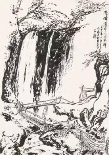 """窦先生写意风格的铅笔画:   ▲""""船行于水,篙入波出""""   ▲静谧的树"""