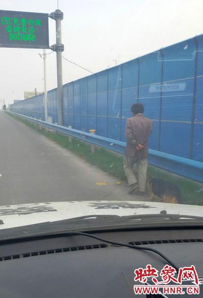 """一名男子牵着一条狗在应急车道上""""健身""""。"""