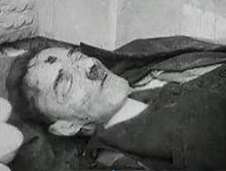 希特勒书房墙上溅满血 爱娃蜷曲在边图片