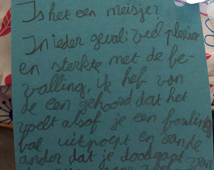 荷兰小学生致信怀孕老师 称生宝宝就像生保龄