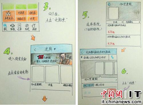 手绘说明书:母亲节教妈妈手机买电影票(组图)
