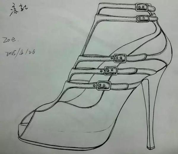3号高跟鞋手绘