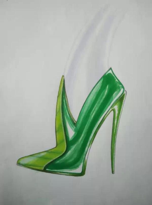 6号高跟鞋手绘