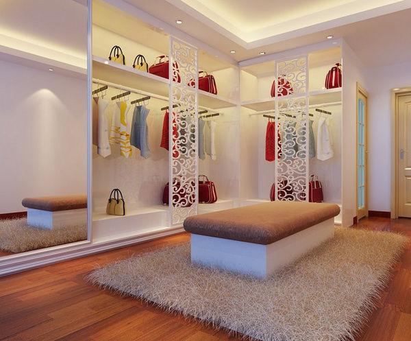 简约的白色设计,榻榻米和衣帽间的结合,休闲娱乐,穿衣打扮两不误.