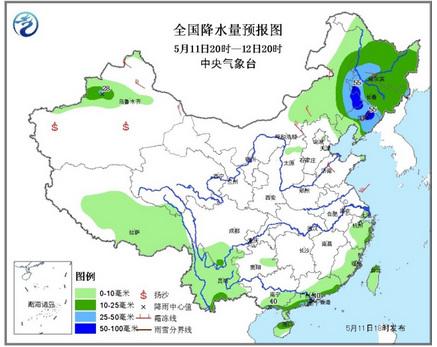 中新网5月11日电中央气象台发布最新天气预报,预计,11日夜间至12日,内蒙古东部偏东地区、东北地区南部和西部等地有中到大雨,其中内蒙古东南部、吉林西南部、辽宁北部等地的局部地区有暴雨。13日开始,江南、华南及贵州等地的部分地区将有一次大到暴雨过程,局地将有大暴雨。
