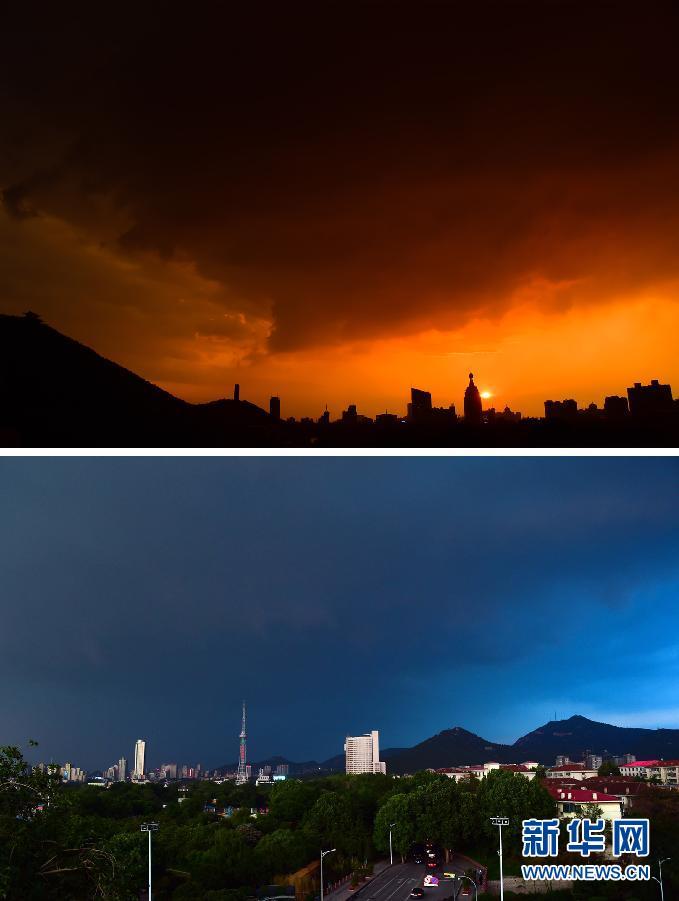 """这是5月11日在济南市一场降雨过后拍摄的天空画面(拼版照片)。 5月11日,一场降雨过后,傍晚的济南市天空中同时出现红云当空和阴云密布的""""冰火两重天""""景象。 新华社记者 郭绪雷"""