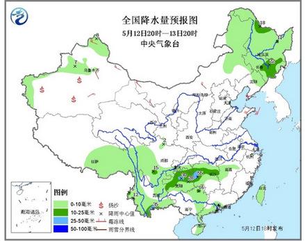 中新网5月12日电 中央气象台发布最新天气预报,13日开始,江南、华南及贵州等地将有一次大到暴雨过程,局地有大暴雨。此外,受弱冷空气影响,13至14日,新疆北部和东部、内蒙古大部、甘肃中西部、宁夏北部等地有4~6级风,新疆山口地区风力可达8~9级;新疆东部和南疆盆地、内蒙古西部等地的部分地区有扬沙或浮尘。
