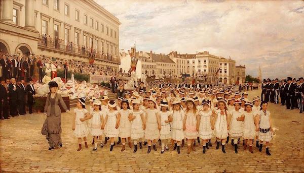 1878年一所比利时中产阶级学校的检阅(Jan Verhas绘)