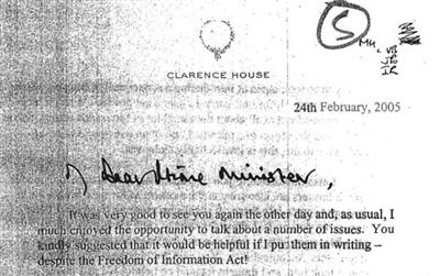 查尔斯王子写给布莱尔的函件开首。
