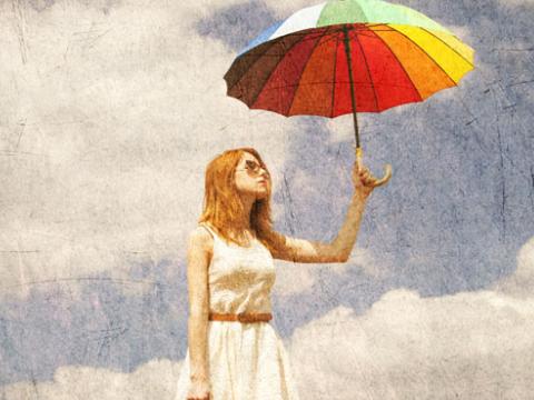 女打伞背影手绘