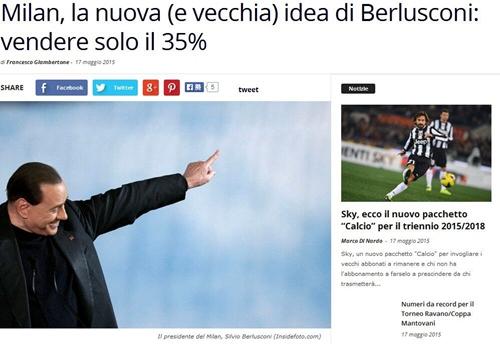 《米兰体育报》:贝卢斯科尼只愿意出售米兰35%的股份