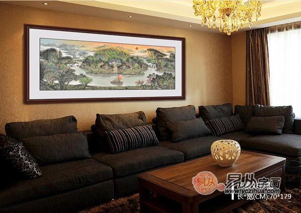 客厅沙发背景山水画 招财旺运好风水