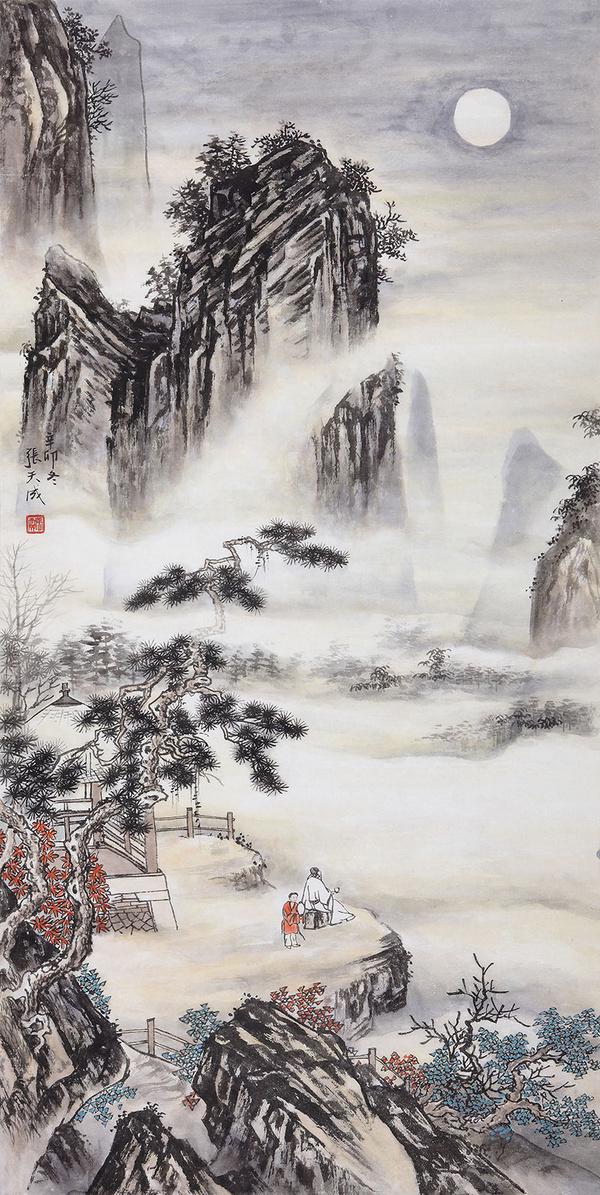 家居生活玄关装饰画选择竖幅山水画图片