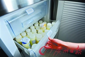 母乳库的冰箱里冷冻着自愿者母亲供给的母乳。(材料相片)广州日报记者乔军伟摄
