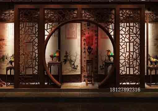 中式木雕木质月亮门拱门落地罩厂家价格揭秘(组图)图片