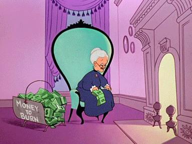老人相伴温馨卡通图片