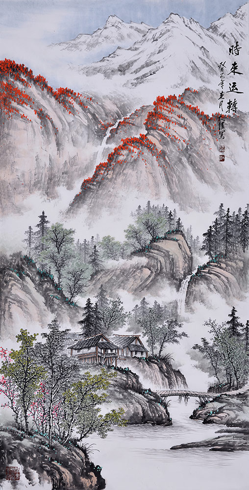 吴大恺四尺竖幅山水画作品《时来运转》作品来源:易从山水画图片