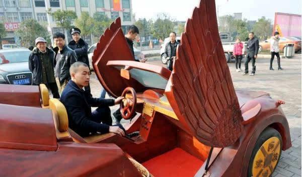 高手在民间,农民10多万手工制造纯红木跑车