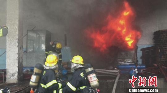 福州马尾区一废旧冷库失火,50余名消防官兵全力灭火排险。 刘万林 摄