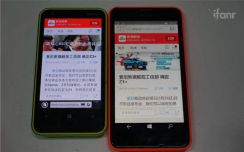 (两者所采用的渲染字体有不同,Lumia