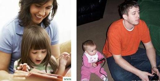 妈妈和爸爸带孩子的区别 笑尿了!