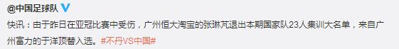 张琳�M伤退国足集训 于洋火线入替
