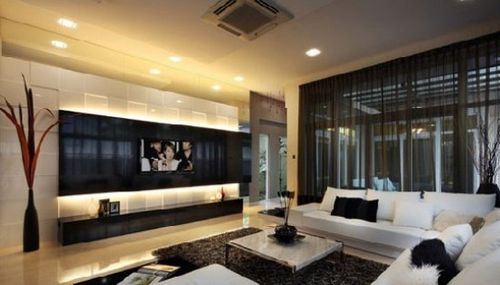 电视墙装修设计图:现代化的空间里,多这类简约的背景墙.图片