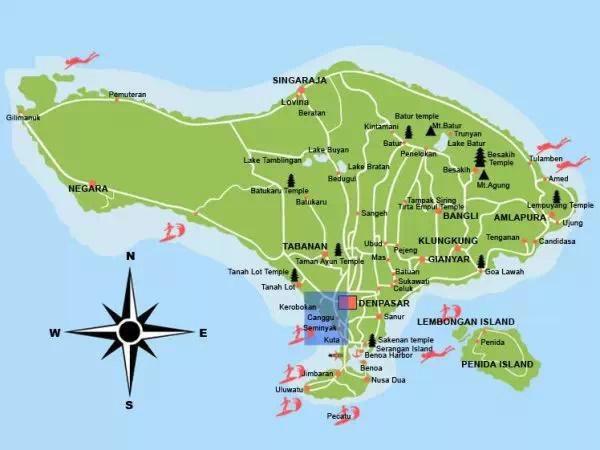 2)猫友手绘巴厘岛地图