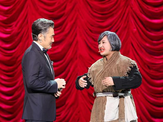 贾玲与吴秀波同台互动