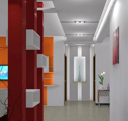 客厅进门玄关效果图:走廊吊顶装修效果图,几何造型很有创意