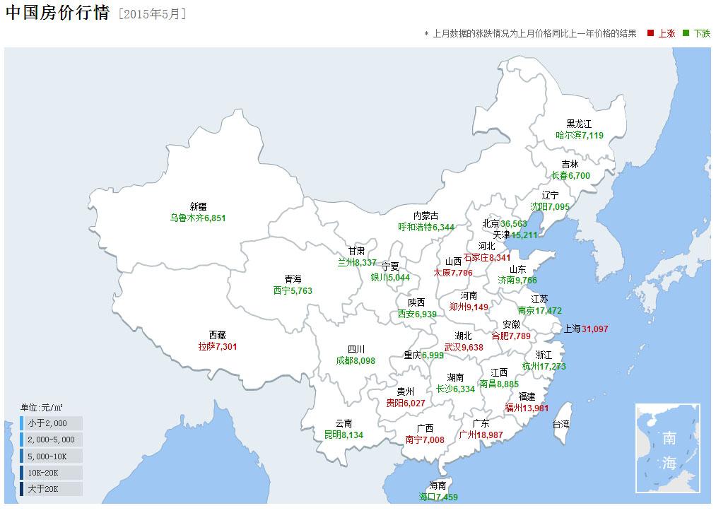 中国主要城市5月房价