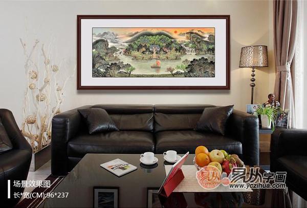 客厅沙发后面挂画 建议挂上一幅山水画