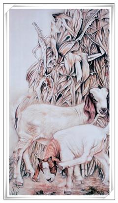 西泠名家索龙坤作品——工笔画(羊)