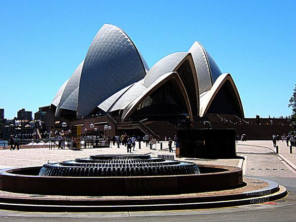 越走近越能感到悉尼歌剧院的震撼力,巨大的建筑扑面而来,外观闪耀着