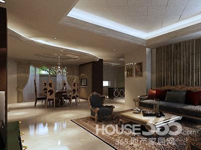 欧式田园风格装修图片:客厅开放式动线彰显大宅气势.