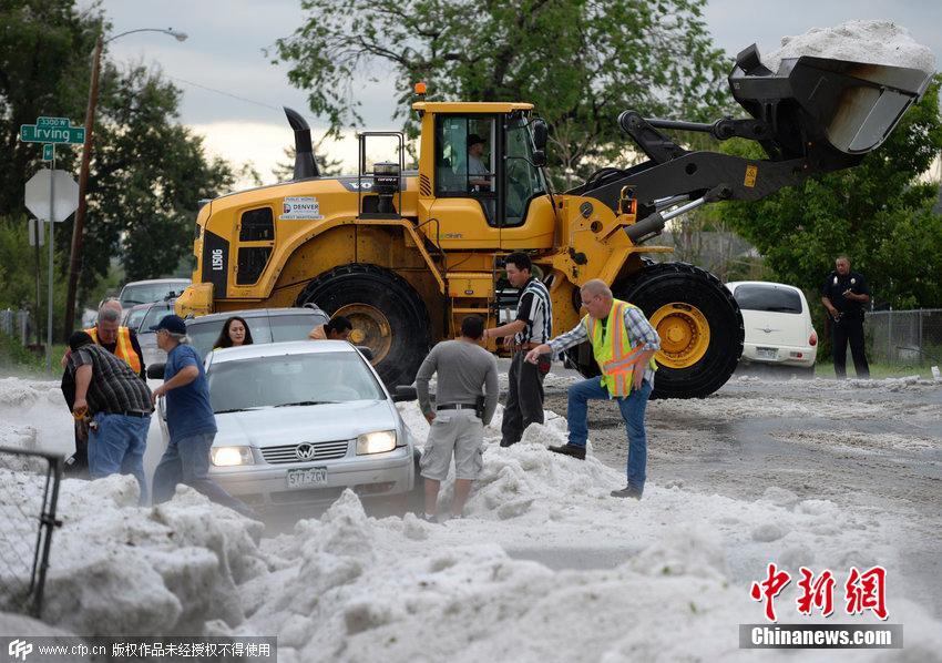 美国降冰雹_美国丹佛遭遇冰雹袭击 街道车辆被埋(组图)-搜狐滚动