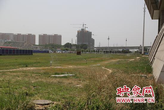 郑州东站东广场外杂草丛生。