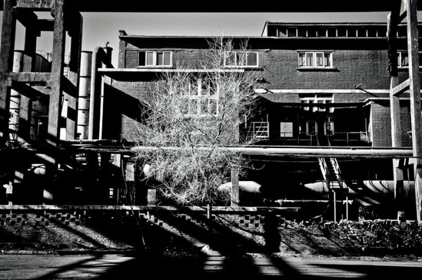 黑白废墟场景手绘